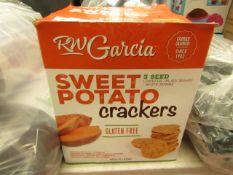 RW Garcia - Sweet Potato Crackers - 850g (2 x 425g) - BBE 06/04/21 - Box Damaged, Inside Content