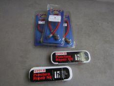 3x Bike Plan - Bike Pump Connector - All Unused & Packaged. 2x Cyclo - Puncture Repair Kit -
