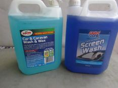 1x Turtle Wax - Car & Caravan Wash & Wax (5 Litre) - Unused. 1x Autocare - Concentrated Screen