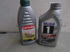 1x Mobil - Racing 4T 15W / 50 Advanced Full Synthetic (1 Litre) - Unused. 1x Carlube - 4 Stroke