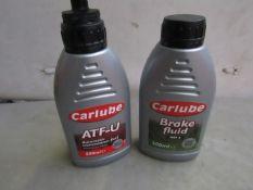 2x Carlube - ATF-U Automatic Transmission Fluid (500ml) - Unused. 2x Carlube - Brake Fluid Dot 4 (