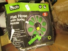 Asab Flat Hose with Spray Nozzle. 15m. Boxed but untested