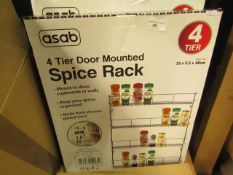 Asab 3 Tier Door Mounted Spice Rack. Boxed but unchecked