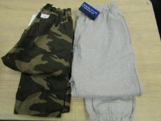 2 X Items Being 1 X Pair of Camouflage Pants size S, 1 X Pair of Grey Tracksuit Bottoms size L
