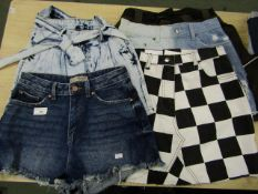 5 X Ladies Denim Shorts Various Sizes & Designs All New ( See Picture )