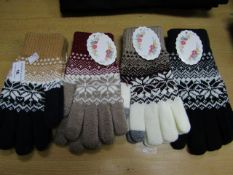 4 X Pairs of Ladies Knitted Gloves with I Touch One size all new with tags ( see Picture for
