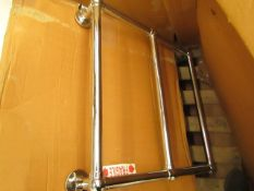 Hew Aster 685 x 685 towel radiator, item is unchecked and may contain marks, cosmetic damage and