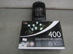 Snow White - 400 Cold White LED Lights - Unchecked & Boxed. 1x JML - Plug-In Heater - Untested,