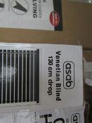 2x Asab - Venetian Blind 130cm Drop X 60cm Length (1x Grey/ 1x White) - Unchecked & Boxed. 2x Asab -