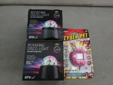 2x EFG - Rotating Disco Light (Battery Operated) - Unchecked & Boxed. 1x Cyber Pet - Keyring Pet Toy