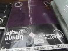 """Albert Austin - Luxury Thermal Blackout Curtains With Eyelets (Purple) - 90"""" x 90"""" - Unchecked &"""
