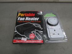 Race Line - Portable Fan Heater 12w - Unchecked & Boxed. 1x Pifco - 24Hr Programmable Timer - Unused