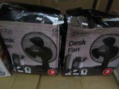 2x Asab - Desk Fan - Unchecked & Boxed.