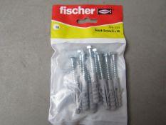 10x Fischer - Coach Screws 6 x 50 (Packs of 10) - All New & Packaged.
