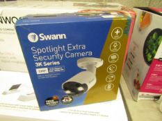 Swann Spotlight Extra security camera 3K series, unchecked and boxed. RRP £150.00