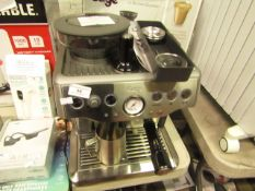 Sage the Barista Express bean to cup coffee machine, powers on but not tested all functions and