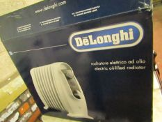 DeLonghi electric oil filled radiator, unchecked and boxed.