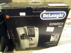 Delonghi Dinamica Plus bean to cup coffee machine, powers on but not tested all functions and boxed.