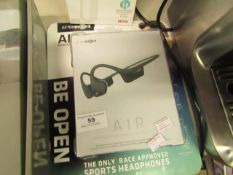 After Shokz Air wireless bone conduction earphones, tested working and boxed. RRP £70.00