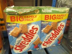 2 x 700g Nestle Shreddies. BB 4/21. Boxes are slightly damaged but product is still sealed