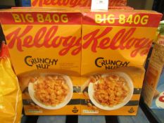 2 x 840g Kellogs Crunchy Nut. BB 7/8/21. Outer boxes may be slightly damaged but products are