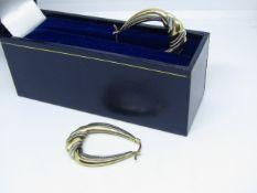 NO VAT!! 9ct Yellow & White Gold Ladies Hoop Earrings in presentation box(item has been cleaned