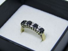 NO VAT!! Pre-owned 9ct Gold Diamond & Sapphire Ring in presentation box(item has been cleaned