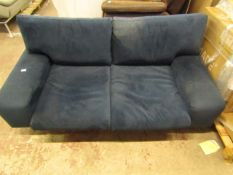 | 1X | SWOON BLUE VELOUR 2 SEATER SOFA, MISSING FEET AND FABRIC ON THE UNDERNEITH |
