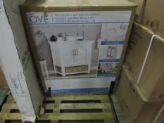 OVE 762mm bathroom vanity unit, basin is cracked but unit is unchecked. Boxed.