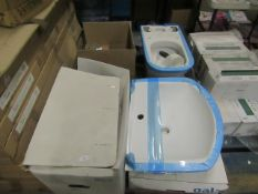 Gala 1TH basin with Roca close coupled toilet pan, pan has minor damage to stand. Both boxed.