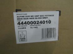 Alpine Duo WC unit exc fittings gloss grey, W600 x D220 x H850, new and boxed.