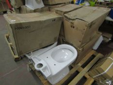 6x Victoria Plumb PAN1060 toilet pan, new and in water damaged box.