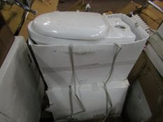 2x Victoria Plumb toilet pan, new and boxed.