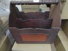 5x Brown Wooden Magazine Box - All Unused.