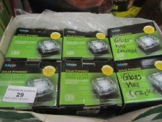 6x Solanite - Solar Powered Glass Cube Path Lights - Boxed (2 say glass cracked all unchecked)