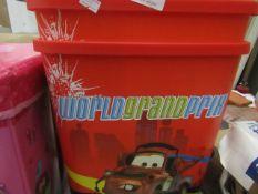 2x Disney - Cars Plastic Storage Tubs - Unused.