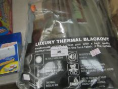 """Luxury Thermal Blackout Curtains - Charcoal Grey 66"""" x 90"""" - Unchecked & Packaged."""