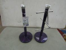 1x Purple Cup Holder -Unused With Original Tags. 1x Purple Kitchen Roll Holder - New With Original