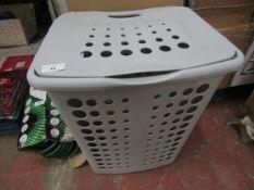 Grey Plastic Laundry Basket - Slight Crack on Back.