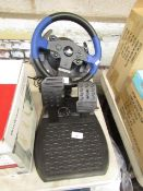 Thrustmaster Playstation 3/4 steering wheel and pedal set, unchecked. RRP Circa £99.99