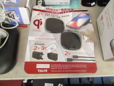 Pocket Juice set of 2x wirless charging pads, unchecked and packaged.