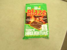 24x Blaze - Fuel Express Natural Fire Lighters (24 Small Cubes Per Pack) - Unused & Boxed.