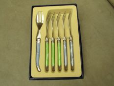 5x Laguiole - Cake Forks (5 Pieces Per Box) Blue & Green - Unused & Boxed.