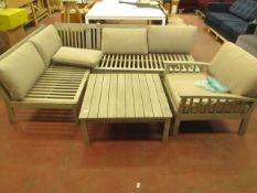   1X   REVELLO WOODEN CORNER LOUNGE SET, INCLUDES CORNER SOFA, ARM CHAIR AND COFFEE TABLE   NO MAJOR