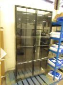   1X   COX AND COX NORDAL IRON TALL DISPLAY CABINET   THERE IS S DENT IN THE SIDE AND THE TOP