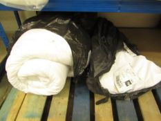   3X   ITEMS IN 2 BAGS BEING A DUVET AND 2 MATTRESS PROTECTORS ALL UNKNOWN SIZE AND CONDITION  