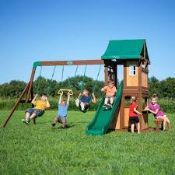 3x Items being; Back Yard Discoveries Lakewood swing set, completely unchecked for all parts,