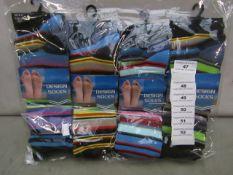 Pack Of 12 - Fresh Feel - Design Socks - Size 6-11 - Assorted Colour Pack - New & Packaged.