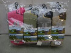 Pack Of 12 - Fresh Feel - The Ultimate Walking Socks - Size 4-7 - Assorted Colours - New &