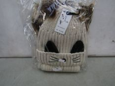 Accessories - Beige Knitted Wool Hat & Scarf Set - New & Packaged. - See Image For Design.